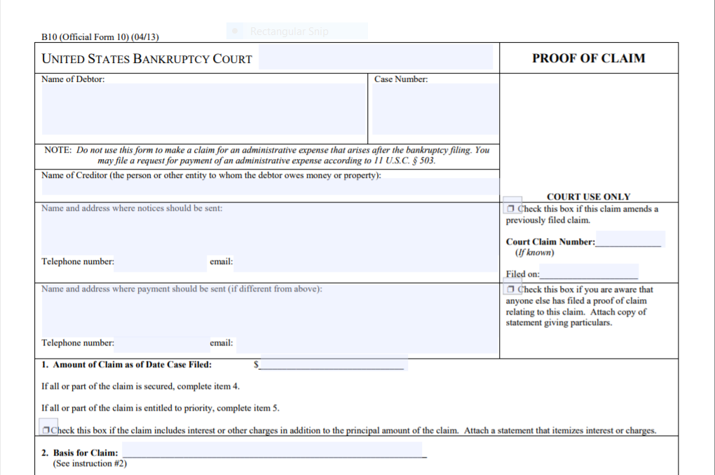 Proof of Claim Form Image